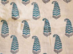 Cream Hand Block Printed Fabric with Blue Paisley